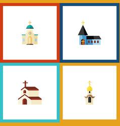 Flat icon building set of religious religion vector