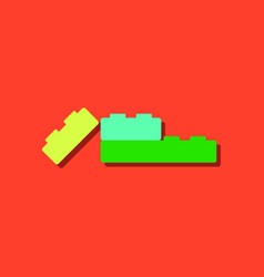 Flat icon design lego constructor in sticker style vector
