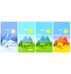 Four seasons landscape banners with trees vector