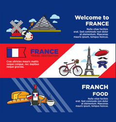 France travel destination advertisement banners vector