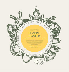 Happy easter - monochromatic hand drawn round vector