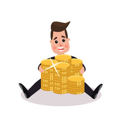 happy millionaire character embracing big pile of vector image