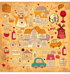 Icons of Paris vector image vector image