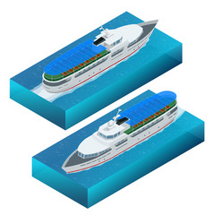 Isometric set of a pleasure boat flat vector