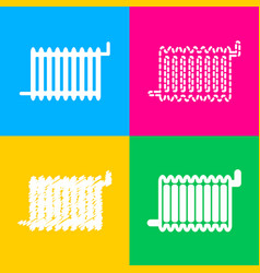 radiator sign four styles of icon on four color vector image vector image