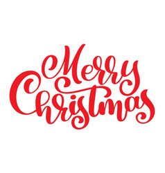 red text merry christmas hand written calligraphy vector image