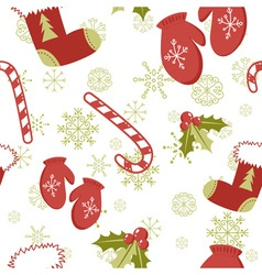 Seamless pattern with cute cartoon Christmas mitte vector image