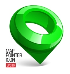 Shiny gloss green Map pointer icon vector image