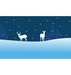 Silhouette of christmas deer scenery at night vector
