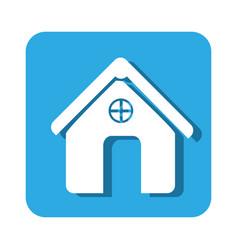 Square button simple facade house icon design vector