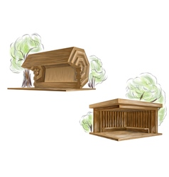 Two wooden bus stop vector
