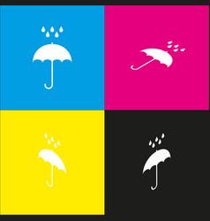 Umbrella with water drops rain protection symbol vector