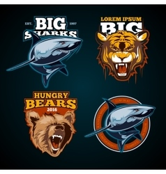 Vintage animal color labels badges emblem vector