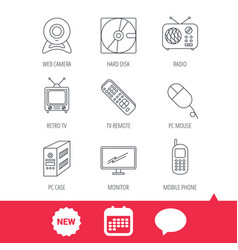 Web camera radio and mobile phone icons vector