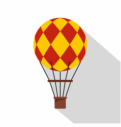 yellow and red hot air balloon icon flat style vector image