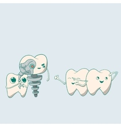 Cute dental implant robot and teeth vector