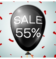 Black baloon with text sale 55 percent discounts vector