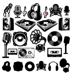 set of retro templat for karaoke disco party vector image