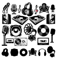 Set of retro templat for karaoke disco party vector