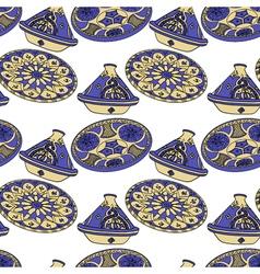 Seamless pattern of blue arabic crockery vector image