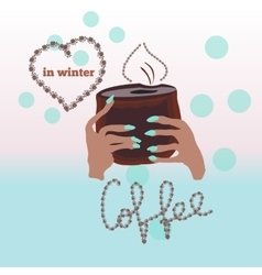 Cup of fresh coffee in cold winter vector image