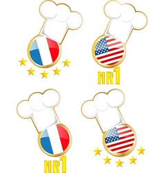 Chef hats and flags vector
