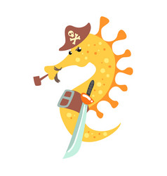 funny cartoon seahorse pirate in a hat smoking vector image