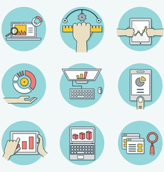 Set of data analytics icons for business - part 1 vector