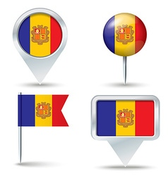 Map pins with flag of andorra vector