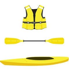 Life jacket kayak boat and oar vector