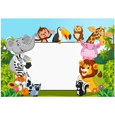 Cartoon collection animal with blank sign vector