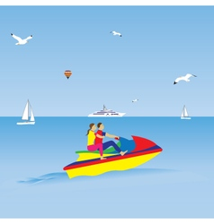 Couple on a jet ski summer vacation vector