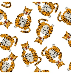 Seamless funny cartoon tiger vector