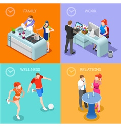 Life time 01 people isometric vector