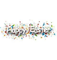 Happy easter paper banner vector