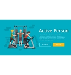 Active fitness person man and woman workout in gym vector