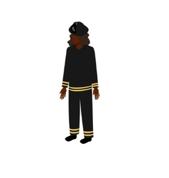 Black isometric firewoman vector