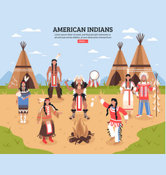 American indians poster vector