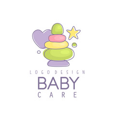 baby care logo design emblem with colorful vector image
