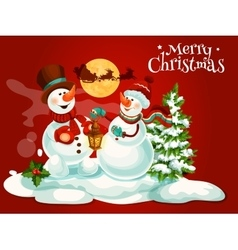 Christmas snowman with lantern greeting card vector image vector image