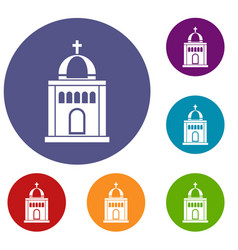 church icons set vector image vector image