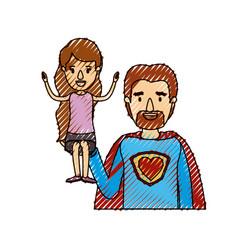 color crayon stripe caricature half body super dad vector image vector image