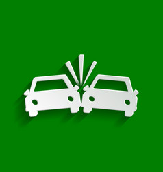 Crashed cars sign paper whitish icon with vector