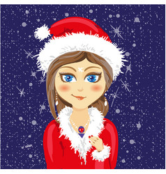cute cartoon girl in a christmas hat and coat with vector image vector image