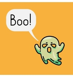 Cute ghost and speech bubble with text Boo vector image vector image