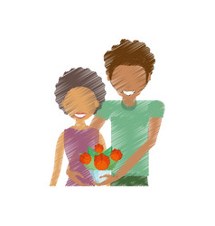 Drawing couple smiling with bouquet vector