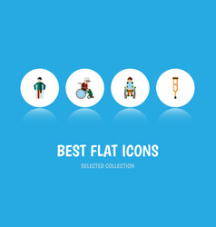 Flat icon disabled set of injured wheelchair vector