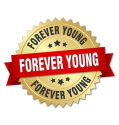 Forever young 3d gold badge with red ribbon vector