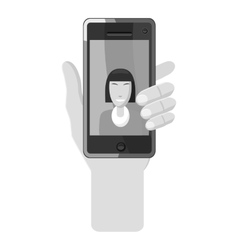 Hand holding phone with photo icon vector