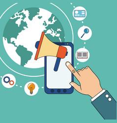 Hand with smarphone digital marketing speaker vector